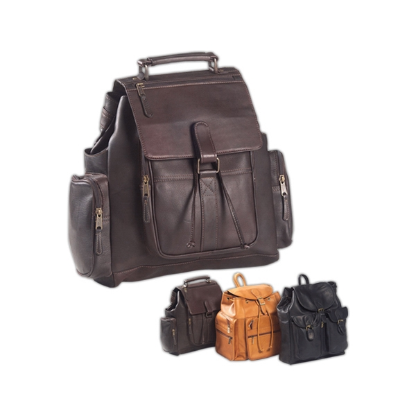 Urban Survival - Leather Backpack With Magnetic Snap Flap And Fully Lined Interior Photo