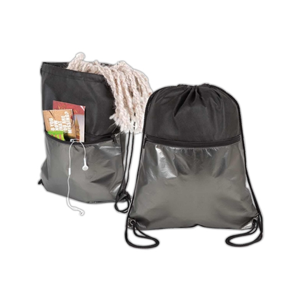 Metallic Non-woven Drawstring Backpack, Front Zippered Pocket Made With Aluminum Photo