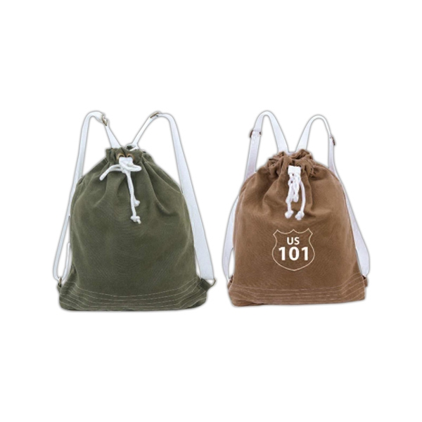 Cotton Canvas Drawstring Backpack With Adjustable Shoulder Straps Photo