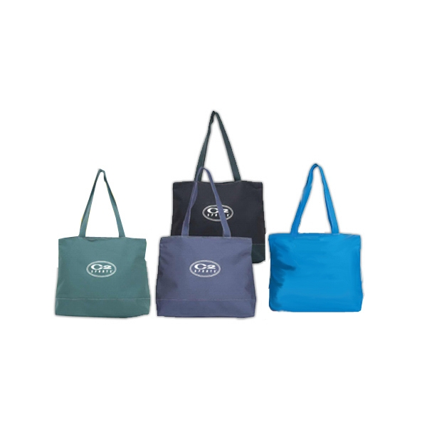 Color Tote Bag With Zippered Closure And Matching Color Shoulder Straps Photo