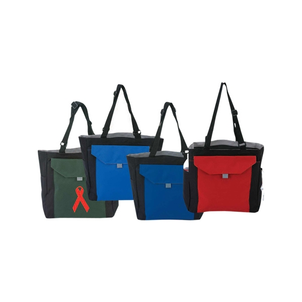 Shoulder Pockets Tote Bag With Front Pocket With Velcro Closure Photo