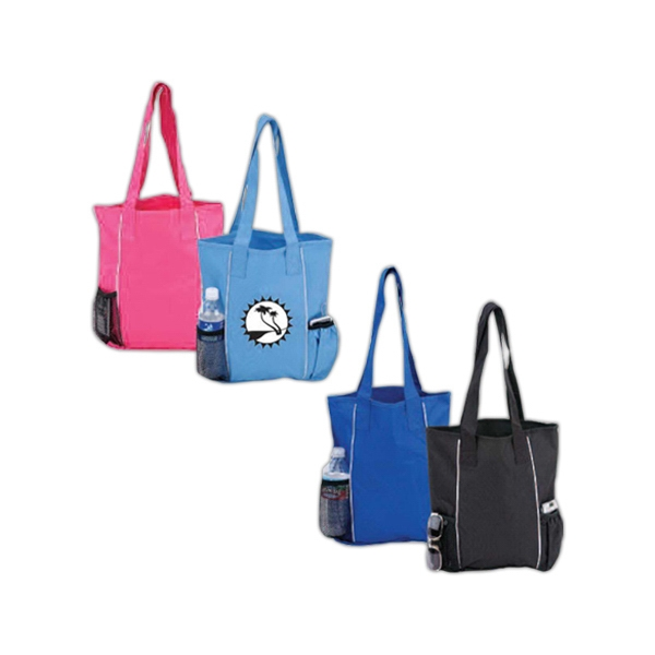 Two Bottle Tote Bag With Piping Trim, Matching Material And Color Shoulder Straps Photo