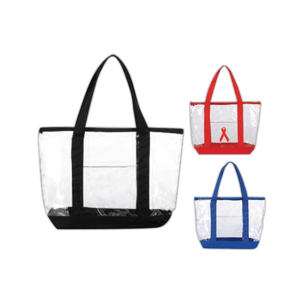 Clear Zipper Tote Bag With Front Open Pocket And Top Zippered Closure Photo