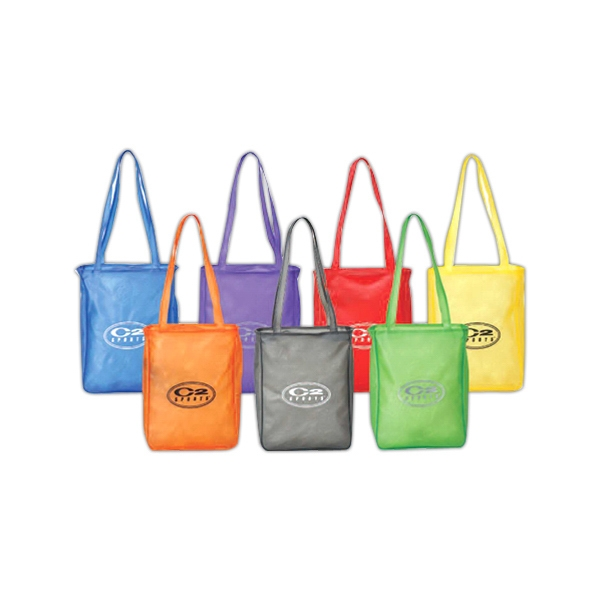 Clear Pvc Shopping Tote Bag With Top Zippered Closure And Matching Color Piping Photo