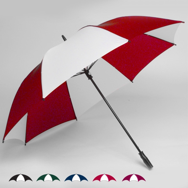 "Wind-strong (tm) - Oversized 62"" Single Canopy Two-tone Golf Umbrella With New Pvc Soft Feel Handle Photo"