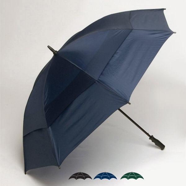 "Wind-tuff(r) - Oversized 62"" Double Canopy Solid Golf Umbrella With New Soft Grip Handle Photo"
