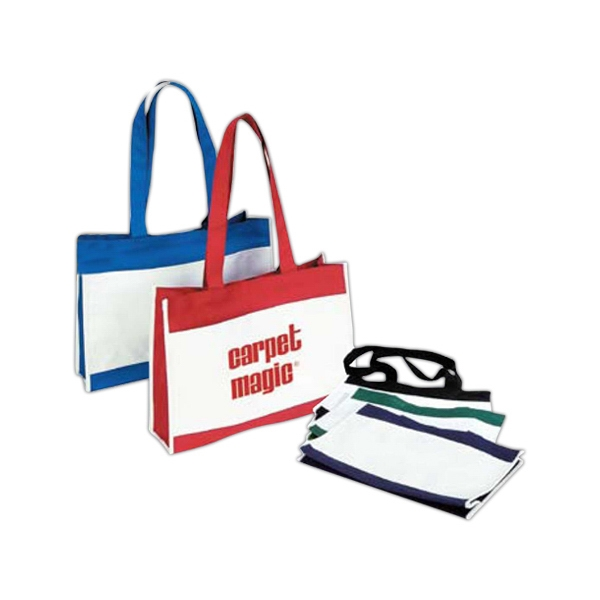 "Classic Two-tone Poly Tote With Top Velcro Closure, 24"" Handles Photo"