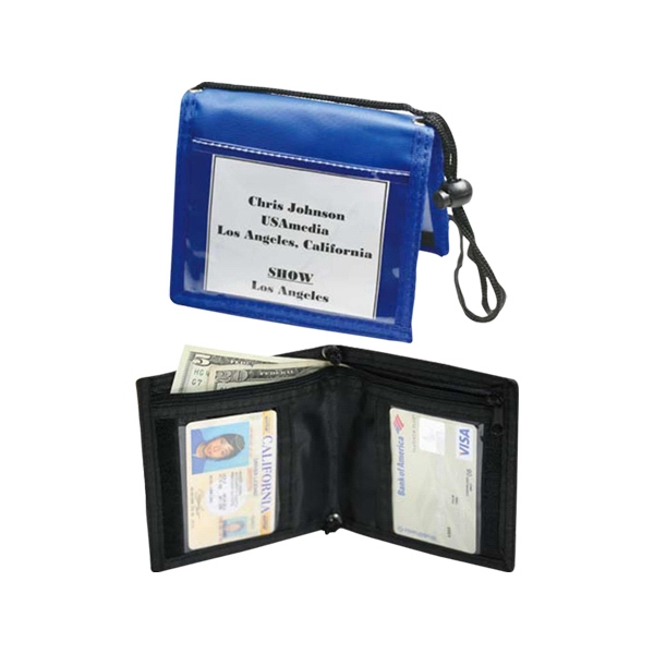 Bi-neck Wallet, With 3 Clear Pockets, 1 Open Pocket, And 1 Large Zippered Pocket Photo