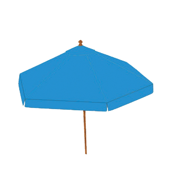Beach / Outdoor Market Umbrella - Blue round market patio umbrella with commercial grade hardwood teak frame.