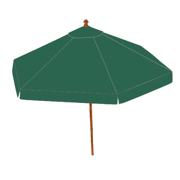 Beach umbrella - Forest Green round market patio umbrella with commercial grade hardwood teak frame.