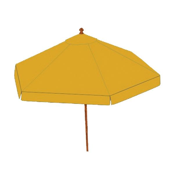 Patio Umbrella - Golden yellow round market patio umbrella with commercial grade hardwood teak frame.