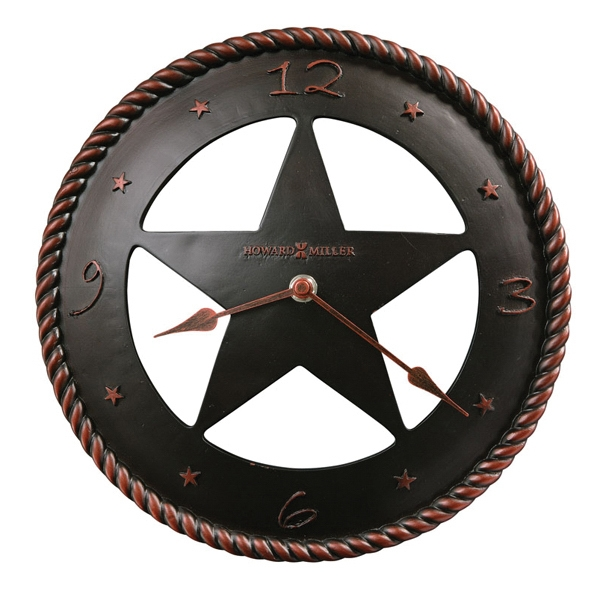 Maverick - Convex, Cast Resin Wall Clock Features A Western Star And Quartz Movement Photo