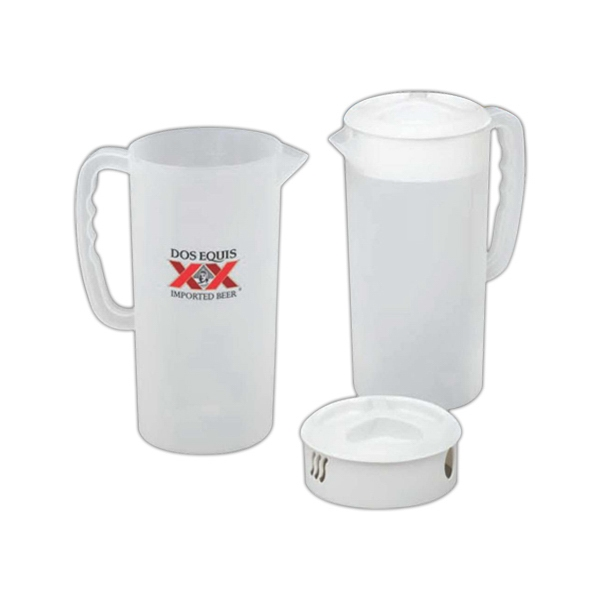 Frosted 2 1/4 Quart Pitcher, With White Lid Photo