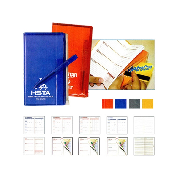 Zip-back Monthly 2-color Planner With Flat Matching Pen And Zip-lock Pocket Photo