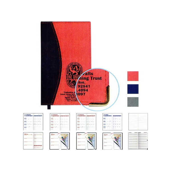 Ascot - Two Tone Vinyl Soft Cover Monthly 1-color Planner Photo