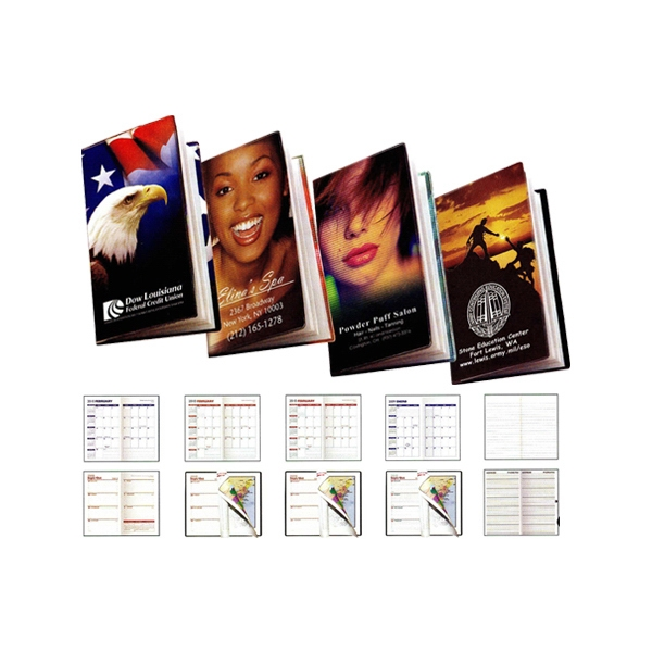 Teamwork Full-color Vinyl Cover Weekly 2-color Pocket Planner With Map Photo