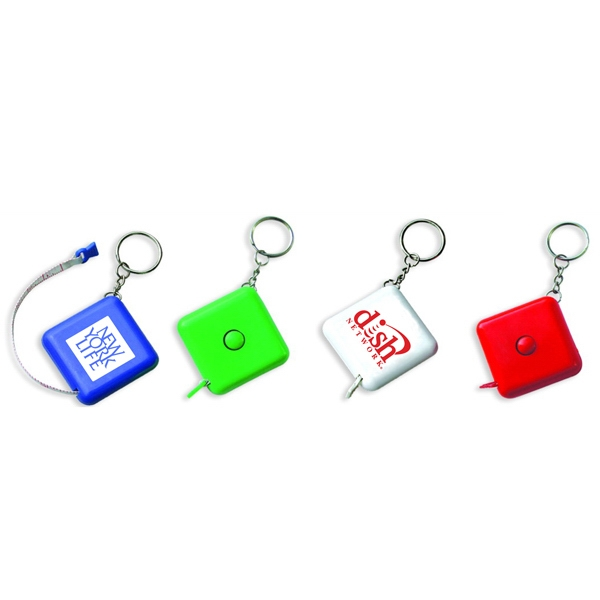 Square tape measure key chain