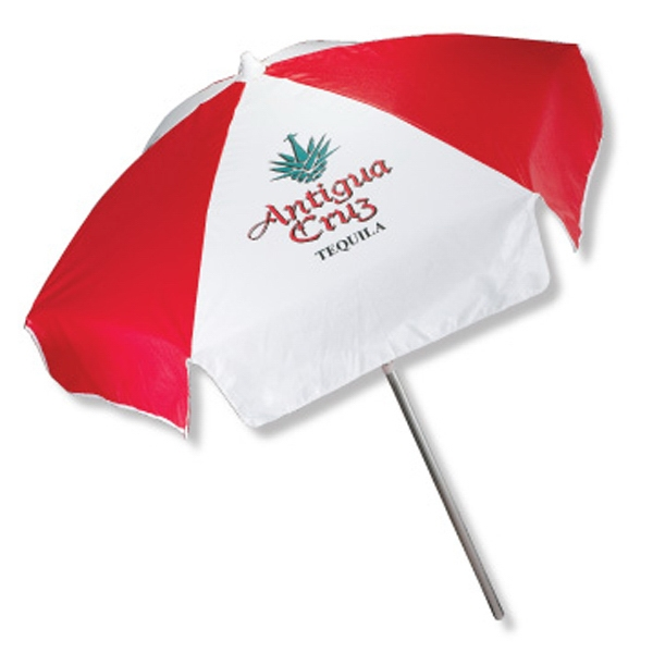In Stock Vinyl Patio/cafe Style Umbrella With 2 Piece Anodized Frame With Tilt Photo