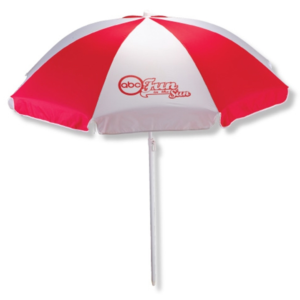 Beach Umbrella Is Great For Indoor Display, Features A Two Piece White Frame Photo