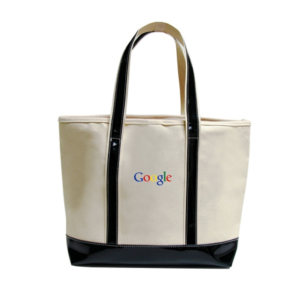 Threads - Canvas Sailing Tote Bag With Faux Patent Leather Handles And Gusset Photo