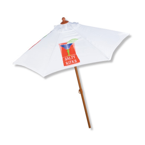 In Stock Wood Grain Aluminum Frame With Tilt Market Umbrella Photo