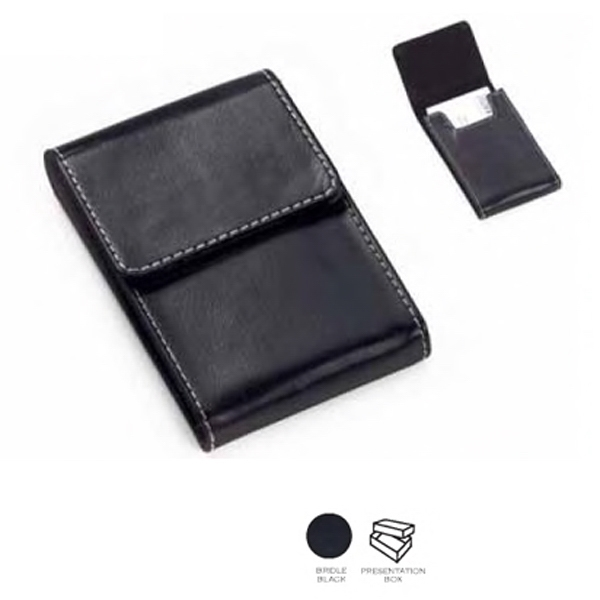 Leather Flip Top Business Card Holder With Black Suede Lining Photo