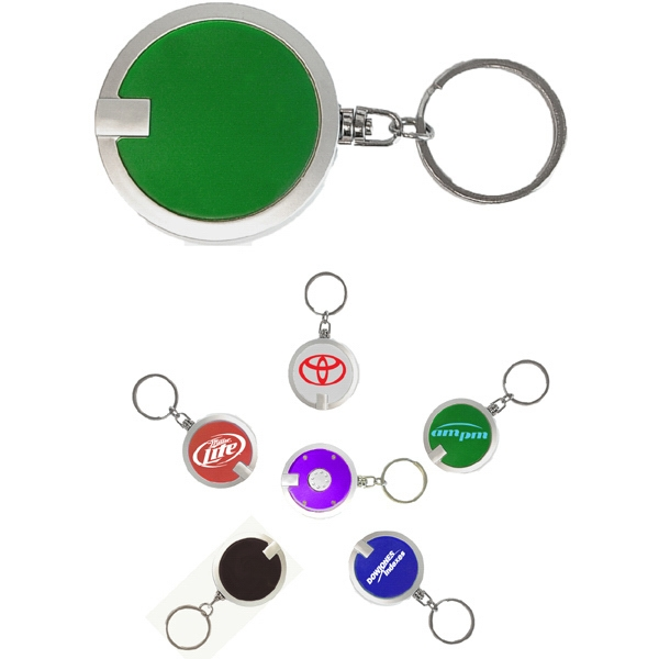 Coaster shape round flashlight key chain