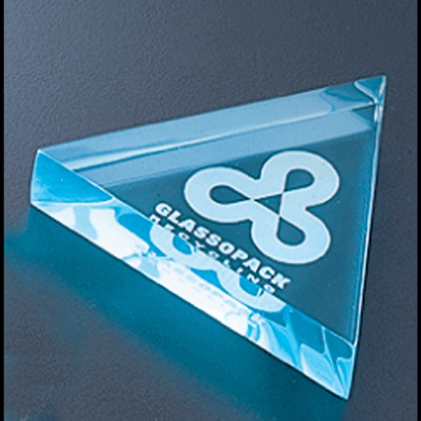 "Executive Series - Blank Goods. Acrylic Triangular Paperweight, 4"" X 4"" X 3/4"" Photo"