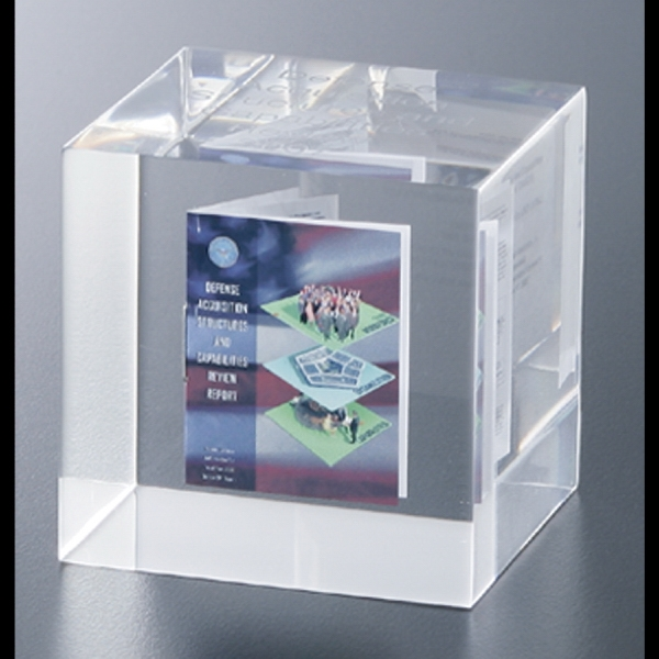 "Lucite (r) - Blank Goods. Custom Cube Award With 4cp Booklet Inside, 2 1/2"" X 2 1/2"" X 2 1/2"" Photo"