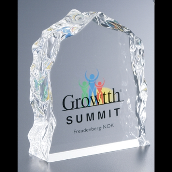 Lucite (r) - Blank Goods. Clear Block With Ice Effect Embedment Award Photo