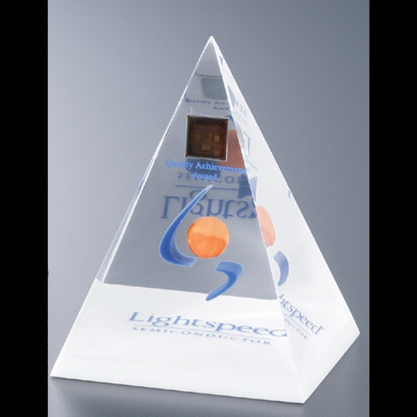"Blank Goods. Four Sided Pyramid Paperweight Or Award Embedment, 3"" X 3"" Photo"