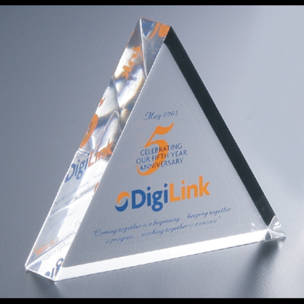 "Lucite (r) - Blank Goods. Clear Equilateral Triangular Embedment Award, 4"" X 3 1/2"" X 7/8"" Photo"