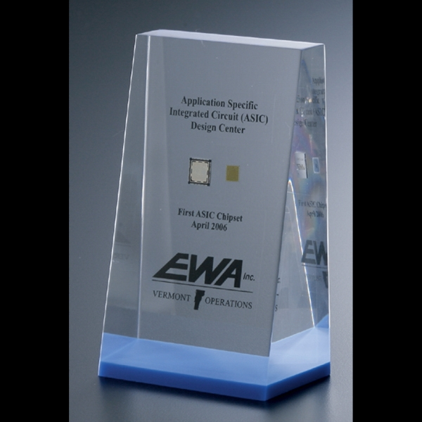 "Blank Goods. Wedge Embedment Award, 2 1/2"" X 2 1/2"" X 1"" To 1/2"" Photo"