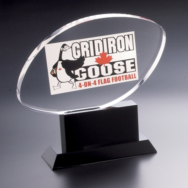 Blank Goods. Football Shaped Custom Award On Black Base Photo