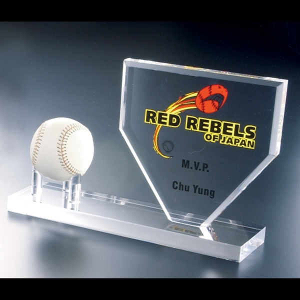 Blank Goods. Clear Acrylic Baseball Home Base Award With Pegs For Baseball Photo