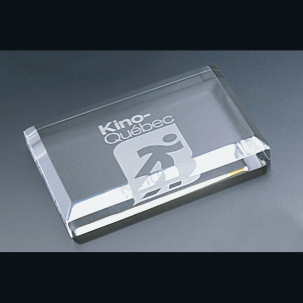 "Corporate Series - Blank Goods. Rectangle Paperweight With Bevel On Top, 4"" X 2 1/2"" X 3/4"" Photo"