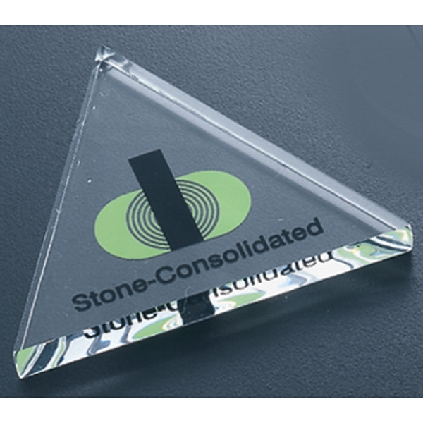 Economy Series - Blank Goods. Clear Economy Acrylic Triangle Shaped Paperweight Photo
