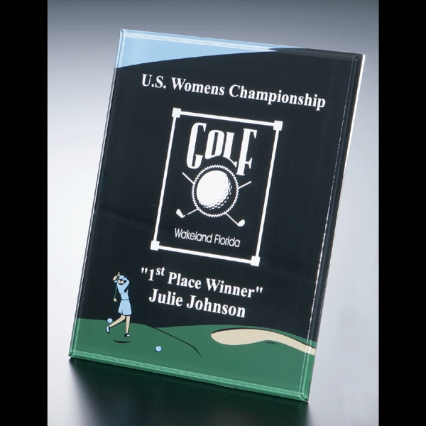 "Golf Series - Blank Goods. Acrylic Beveled Female Golf Award, 8"" X 10"" X 3/8"" Photo"