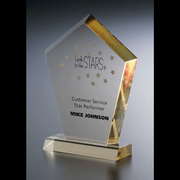 Executive Series - Blank Goods. Clear Acrylic Award With Base Award Photo