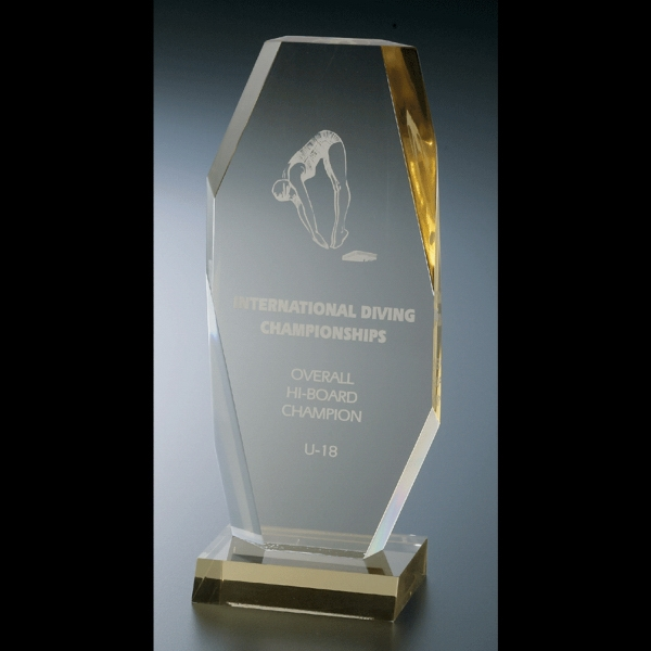 "Executive Series - Blank Goods. Clear Acrylic Executive Style Award, 4"" X 10"" With Clear Polished Base Photo"