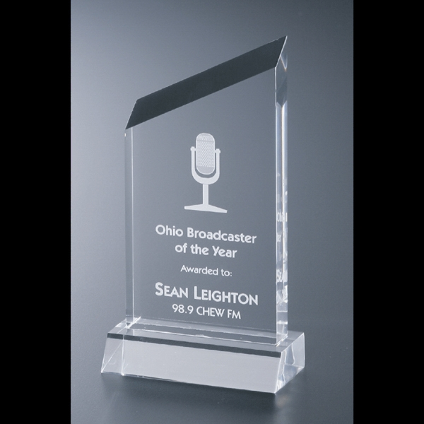 "Executive Series - Blank Goods. Acrylic Executive Slanted Peak Award, 3"" X 5 3/4"" With Base Photo"