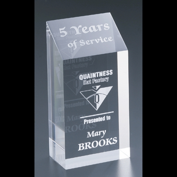"Corporate Series - 3"" X 6"" X 2"" - Blank Goods. Clear Acrylic Corporate Award Photo"
