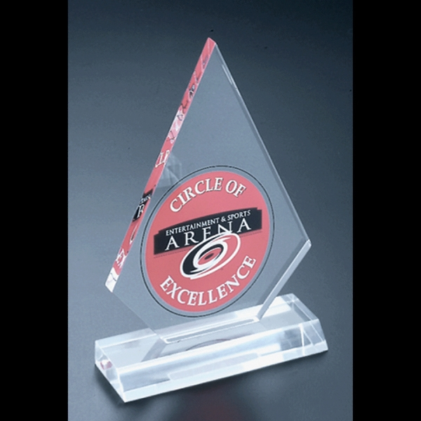 "Economy Series - Blank. Clear, Polished Economy Acrylic Clipped Diamond Peak Award, 4 1/2"" X 6"" Photo"