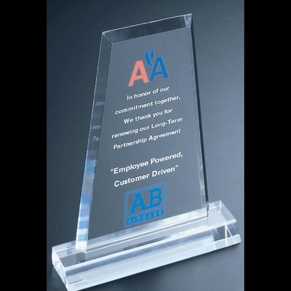 "Frosted Series - Blank Goods. Clear Frosted Economy Acrylic Flat Obelisk Award, 5"" X 7"" X 3/8"" Photo"