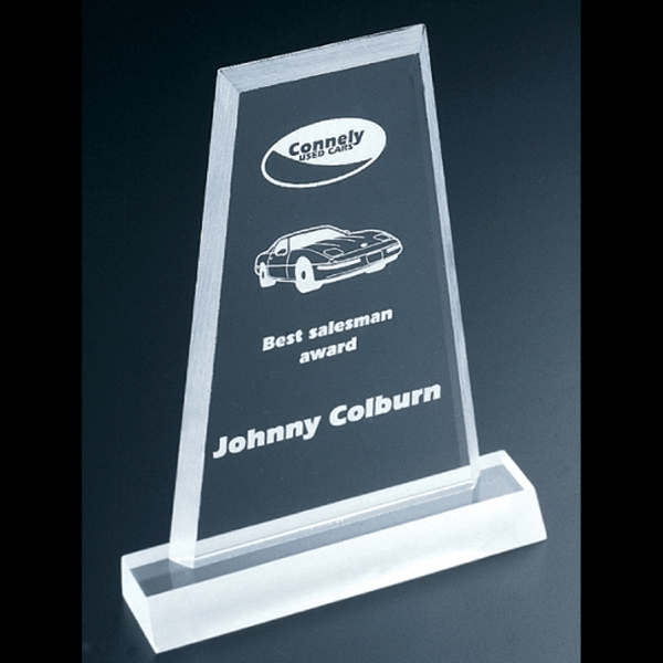 "Frosted Series - Blank Goods. Clear Frosted Economy Acrylic Flat Obelisk Award, 4"" X 6"" X 3/8"" Photo"
