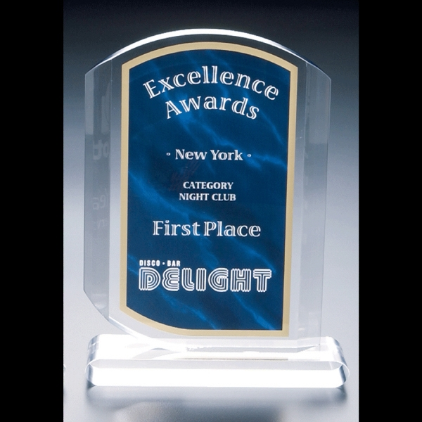 "Executive Series - Blank Goods. Clear Acrylic Blue Marble Print Award, 6"" X 8"" X 3/4"" Photo"