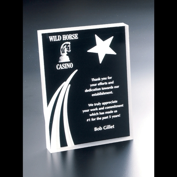 Twilight - Blank Goods. Clear Acrylic Portrait Award With Sandblasted Shooting Star Design Photo