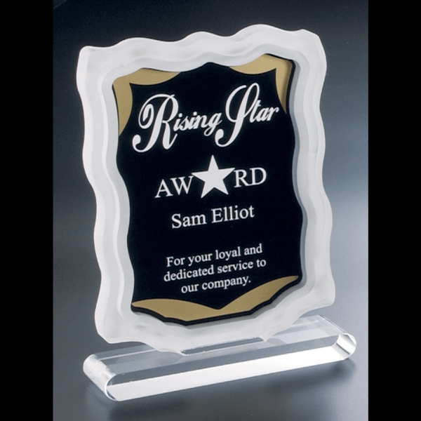 Sub Zero Series - Blank. Clear Acrylic Award With Sandblasted Sides, Gold Accents, Black Background Photo
