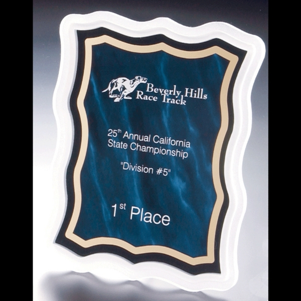 Sub Zero Series - Blank. Acrylic Plaque Award With Sandblasted Edge And Blue Marbled Background Photo