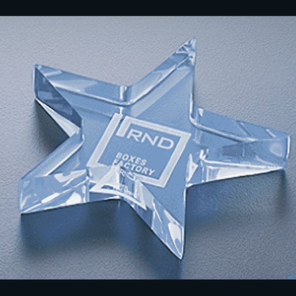 "Executive Series - Blank Goods. Acrylic Star Paperweight, 4"" X 4"" X 3/4"" Photo"